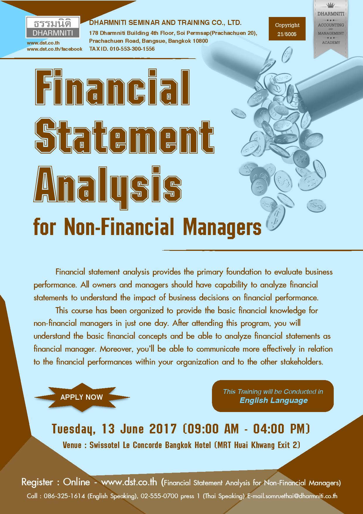 Financial Statement Analysis for Non-Financial Managers (English Language)